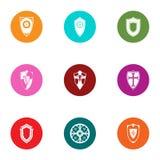 Shield icons set, flat style. Shield icons set. Flat set of 9 shield vector icons for web isolated on white background stock illustration