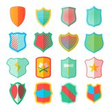 Shield icons set in flat style. Colorful protection shields set collection illustration royalty free illustration