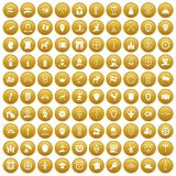 100 shield icons set gold. 100 shield icons set in gold circle isolated on white vectr illustration Stock Images