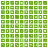 100 shield icons set grunge green Stock Photos