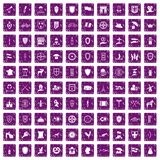 100 shield icons set grunge purple. 100 shield icons set in grunge style purple color isolated on white background vector illustration Royalty Free Stock Images