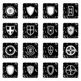 Shield icons set, grunge style. Shield icons set. Grunge illustration of 16 shield vector icons for web Royalty Free Stock Image