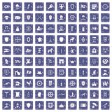 100 shield icons set grunge sapphire. 100 shield icons set in grunge style sapphire color isolated on white background vector illustration royalty free illustration
