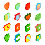 Shield icons set in isometric 3d style. Shield icons set in isometric, 3d style. Colorful protection shields set collection vector illustration Stock Images