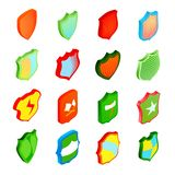 Shield icons set in isometric 3d style. Shield icons set in isometric, 3d style. Colorful protection shields set collection illustration stock illustration