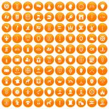100 shield icons set orange. 100 shield icons set in orange circle isolated vector illustration royalty free illustration