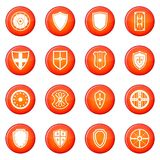 Shield icons set. Of red circles isolated on white background vector illustration