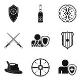 Shield icons set, simple style. Shield icons set. Simple set of 9 shield vector icons for web isolated on white background stock illustration