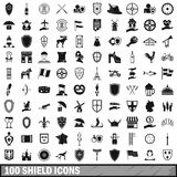 100 shield icons set, simple style Stock Images