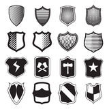 Shield icons set in simple style Stock Images