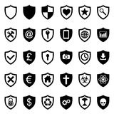 Shield icons set Royalty Free Stock Images