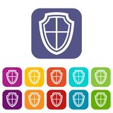 Shield icons set. Vector illustration in flat style in colors red, blue, green, and other royalty free illustration