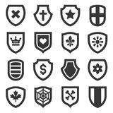 Shield Icons Set on White Background. Vector Stock Photo