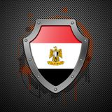 Shield with the image of a flag of Egypt. Royalty Free Stock Image