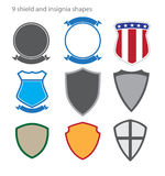 Shield and Insignia Shapes. Shields and insignias in a variety of shapes available as fully editable vector graphics in EPS Royalty Free Stock Image