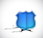 Shield inside a hole. illustration design Stock Photos