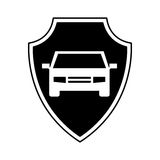 Shield insurance with car isolated icon Royalty Free Stock Photo