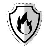 Shield insurance with fire isolated icon Royalty Free Stock Photo
