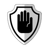 Shield insurance with hand stop isolated icon Stock Image