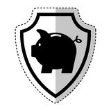 Shield insurance with piggy isolated icon Royalty Free Stock Photography