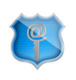 Shield and internet key illustration design Stock Images
