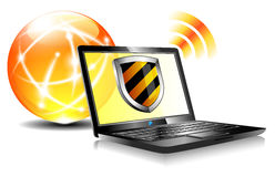 Shield Internet Protection antivirus laptop. Computer antivirus security protection, firewall digital shield concept Stock Image