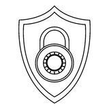 shield with key lock Royalty Free Stock Image