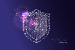 Shield with keyhole. starry night sky and line dot design. The concept of protection and safe guard. suitable for background, banner, poster, brochure etc Stock Photography