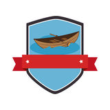 Shield and label with Canoe with rowing Stock Photo