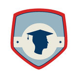 Shield and label with silhouette graduate Stock Photos