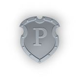 Shield with letter P Stock Photo