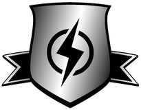 Shield with lightning - power symbol Stock Photography