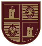 Shield with a lion. And castle Royalty Free Stock Images