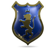 Shield With A Lion. 3d illustration of an abstract metallic shield with a lion Stock Image