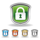 shield and lock icon Stock Photo