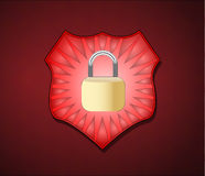 Shield with lock for security Royalty Free Stock Photo