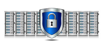 Shield Lock Servers with Shield Protection Stock Images