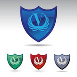 Shield Logo Design With V Victory & Wing royalty free stock photography