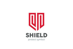 Shield Logo design vector. Law Legal security guard Royalty Free Stock Images