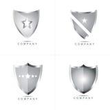 Shield logo vector. Silver shield logo vector design set Royalty Free Stock Image