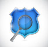 Shield and magnify glass illustration design Stock Photography