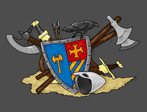 Shield medieval hand drawing. Figure medieval shields and other weapons - bows, arrows, sword, helmet, this illustration may be useful as designer work Stock Photography