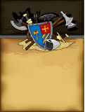 Shield medieval hand drawing Stock Images