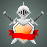 Shield medieval knight helmet crossed swords Royalty Free Stock Images
