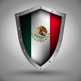 Shield with the Mexico flag Royalty Free Stock Images