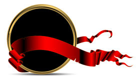 Shield modern. Elegant black shield modern decorated red ribbon, this illustration may be usefull as designer work Stock Photography