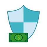 Shield and money bill icon Stock Photo