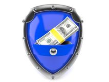 Shield with money. Isolated on white background Stock Images