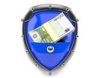 Shield with money. Isolated on white background Royalty Free Stock Photo