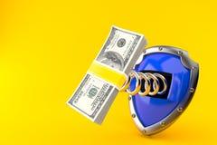 Shield with money. On orange background Stock Photography
